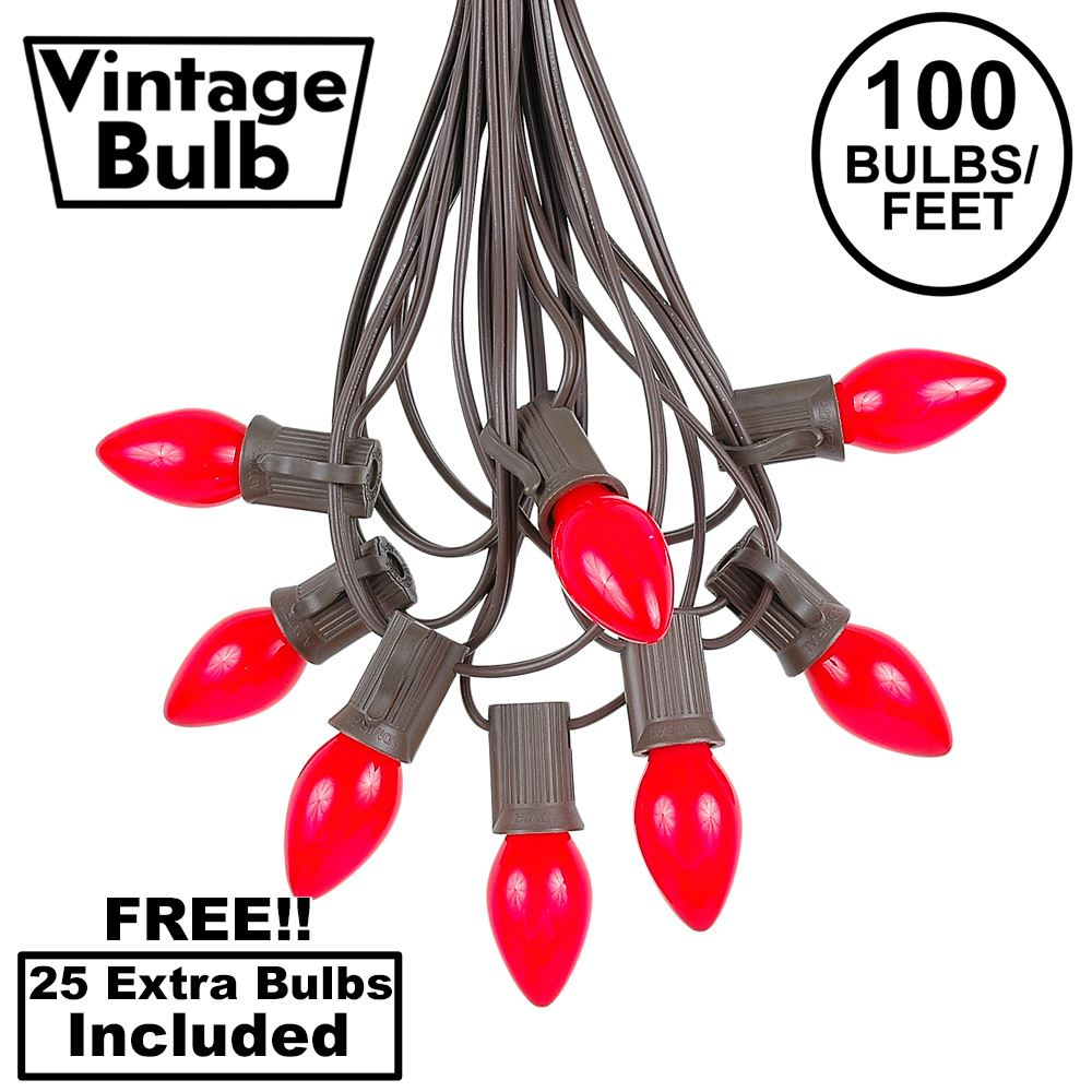 Picture of 100 C7 String Light Set with Red Ceramic Bulbs on Brown Wire