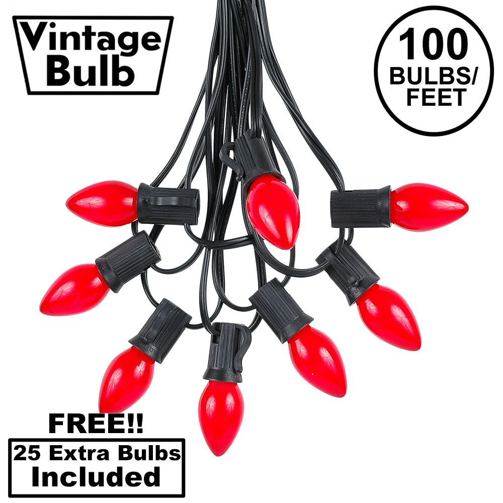 Picture of 100 C7 String Light Set with Red Ceramic Bulbs on Black Wire