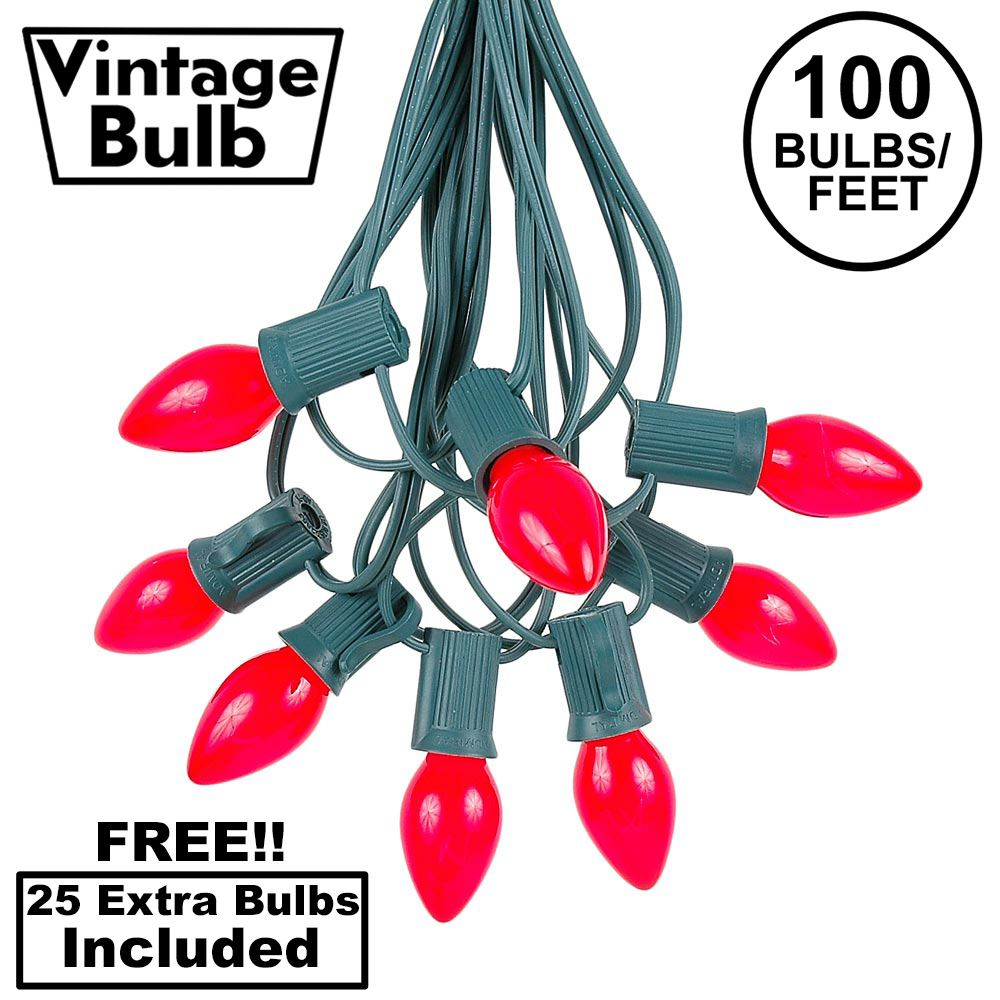 Picture of 100 C7 String Light Set with Red Ceramic Bulbs on Green Wire
