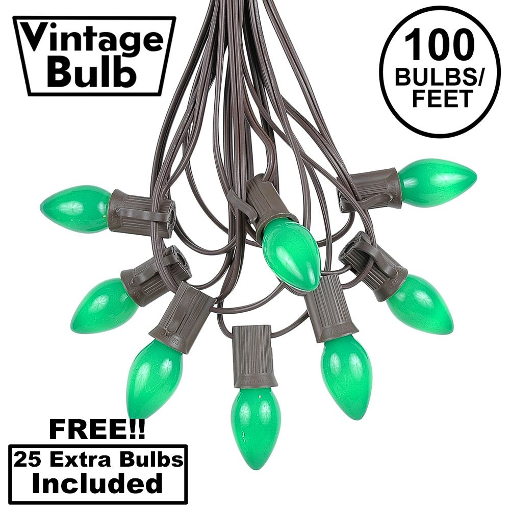 Picture of 100 C7 String Light Set with Green Ceramic Bulbs on Brown Wire