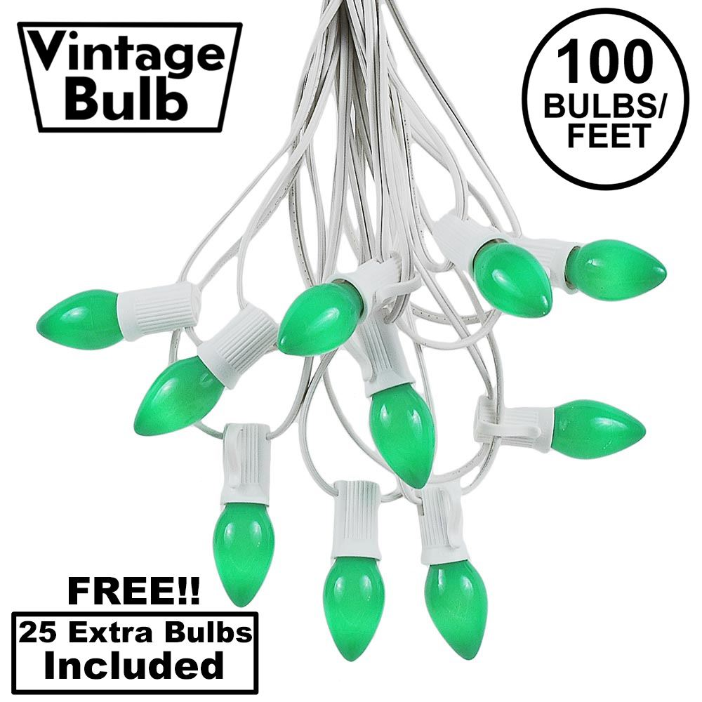 Picture of 100 C7 String Light Set with Green Ceramic Bulbs on White Wire