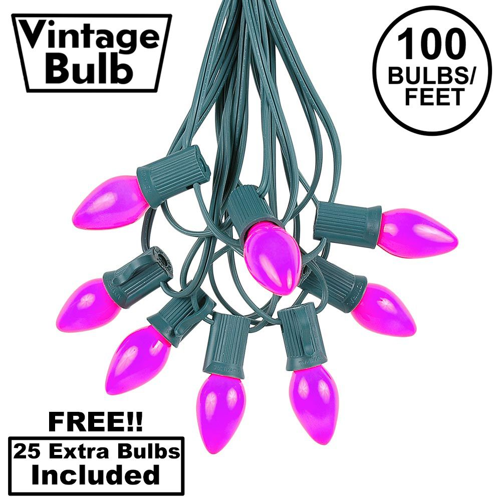 Picture of 100 C7 String Light Set with Purple Ceramic Bulbs on Green Wire
