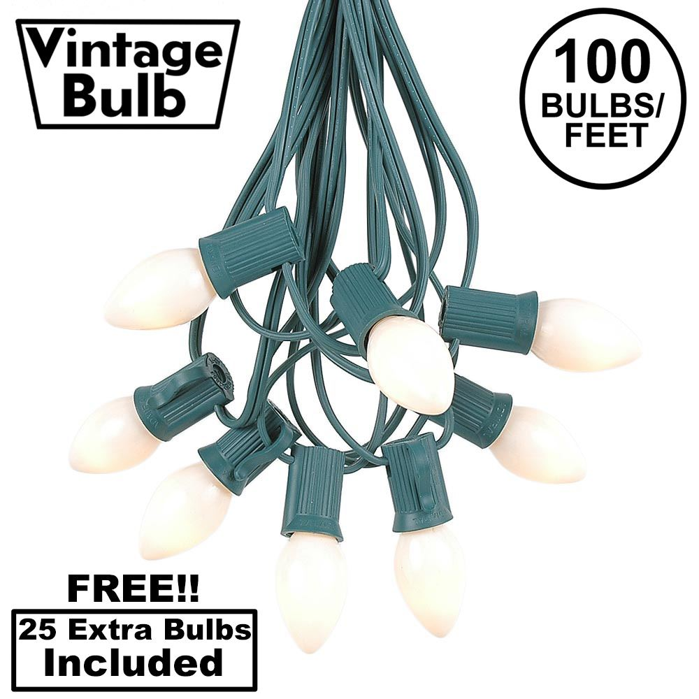Picture of 100 C7 String Light Set with White Ceramic Bulbs on Green Wire
