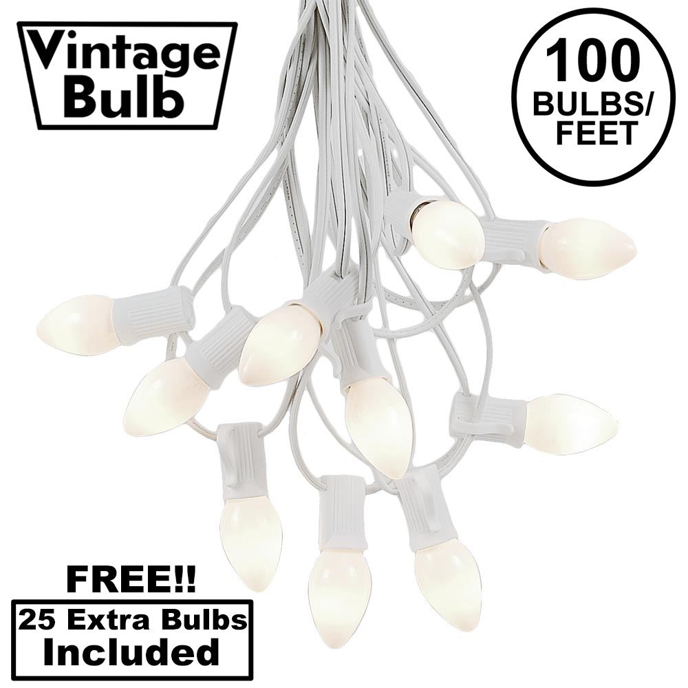 Picture of 100 C7 String Light Set with White Ceramic Bulbs on White Wire