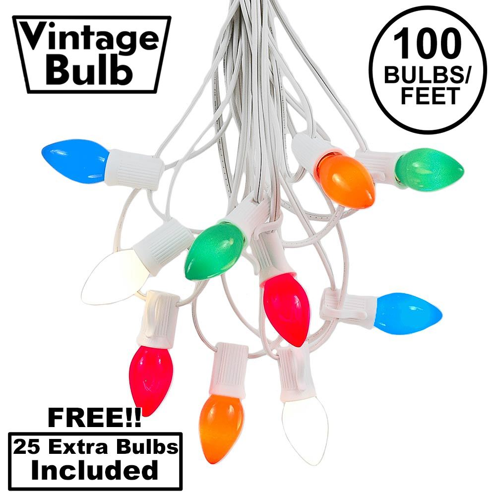 Picture of 100 C7 String Light Set with Multi Colored Ceramic Bulbs on White Wire