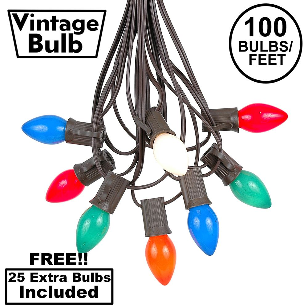 Picture of 100 C7 String Light Set with Multi Colored Ceramic Bulbs on Brown Wire