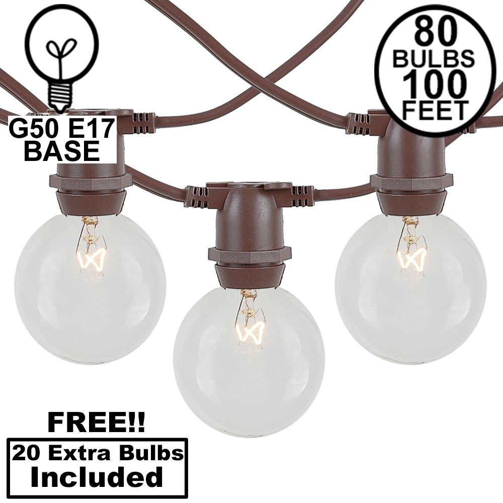 Picture of 80 Clear G50 Commercial Grade Intermediate Base Light Set - Brown Wire