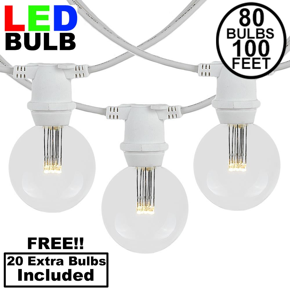 Picture of 80 Warm White LED G50 Commercial Grade Intermediate Base Light Set - White Wire