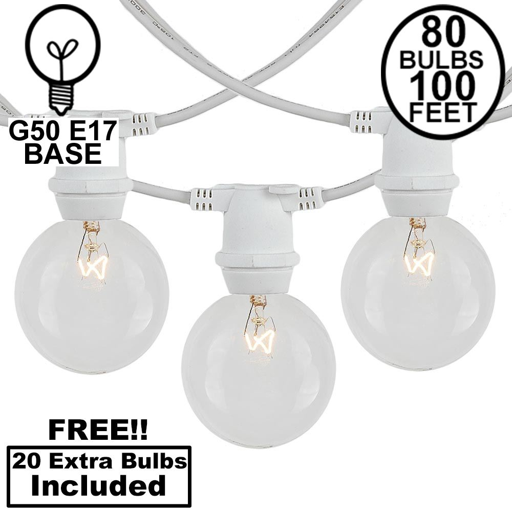 Picture of 80 Clear G50 Commercial Grade Intermediate Base Light Set - White Wire