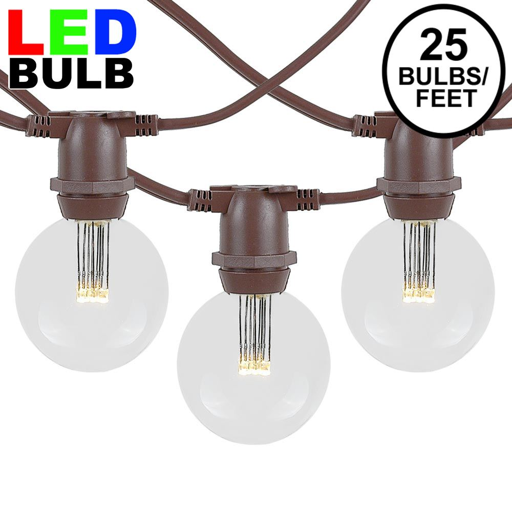 Picture of 25 Warm White LED G50 Commercial Grade Intermediate Base Light Set - Brown Wire
