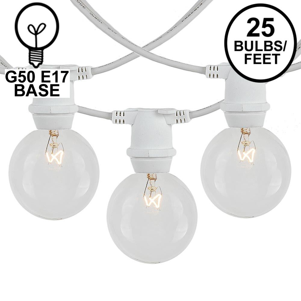 Picture of 25 Clear G50 Commercial Grade Intermediate Base Light Set - White Wire