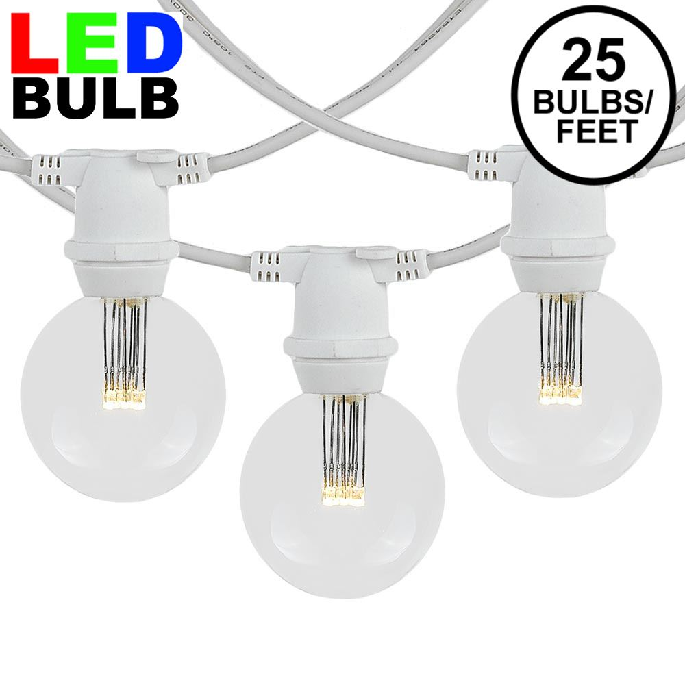 Picture of 25 Warm White LED G50 Commercial Grade Intermediate Base Light Set - White Wire