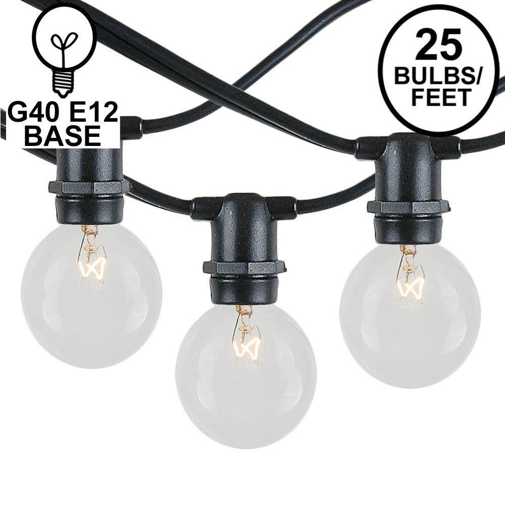 Picture of 25 Clear G40 Commercial Grade Candelabra Base Light Set
