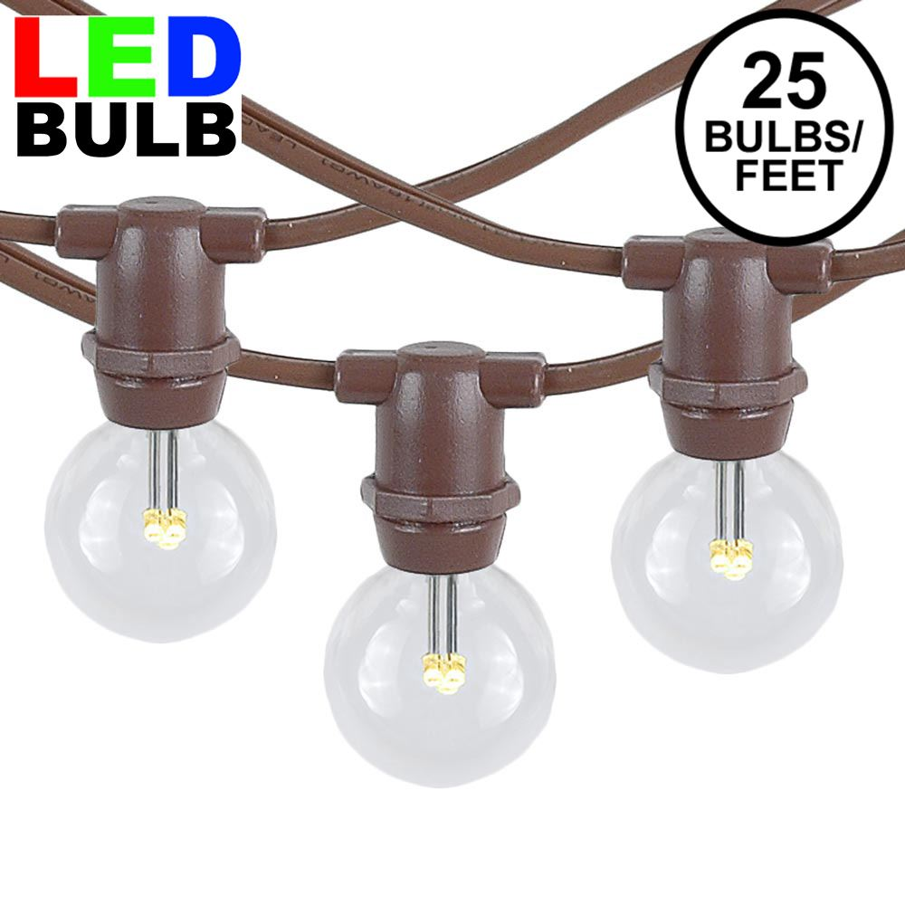 Picture of 25 Warm White LED G30 Commercial Grade Candelabra Base Light Set - Brown Wire
