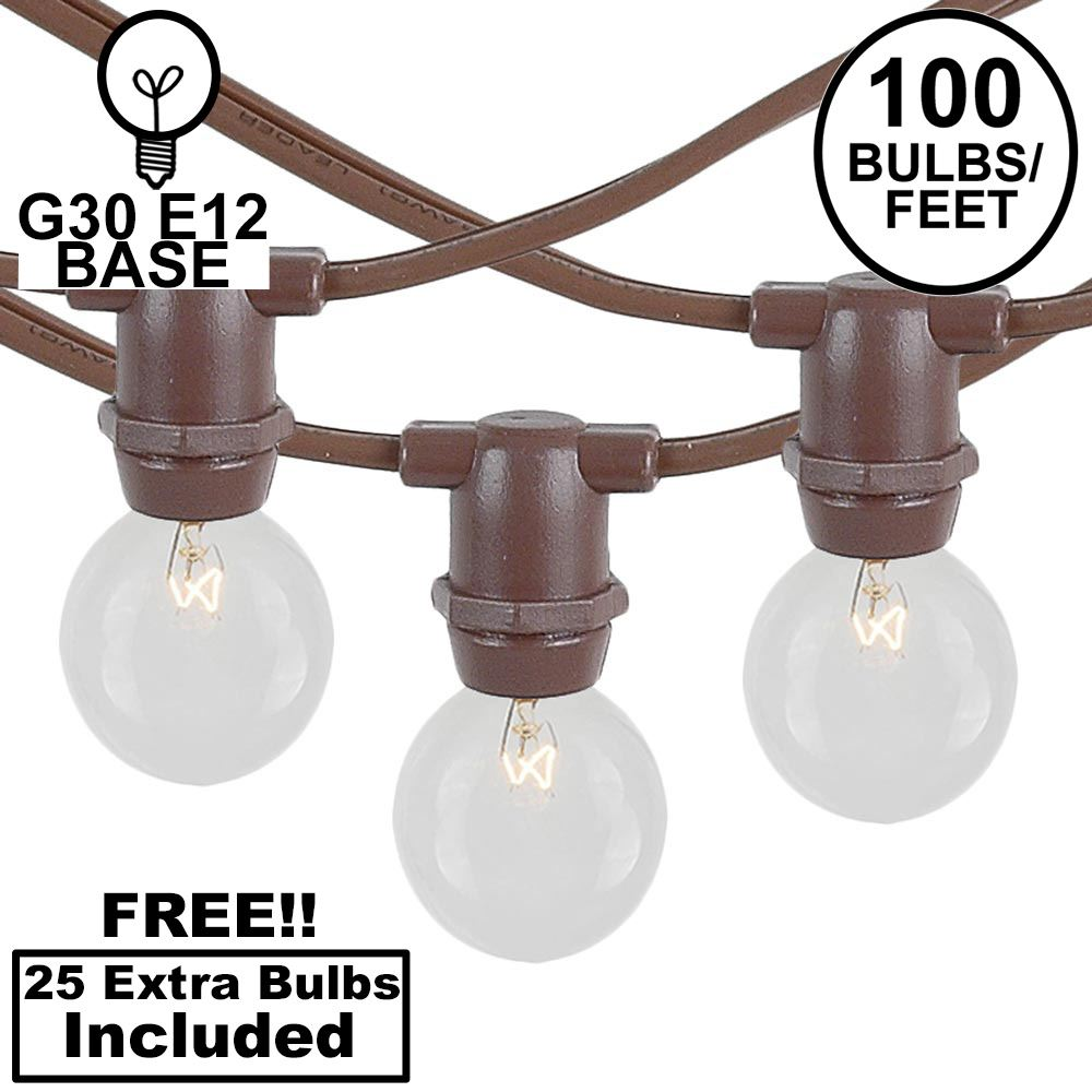 Picture of 100 Clear G30 Commercial Grade Candelabra Base Light Set - Brown Wire