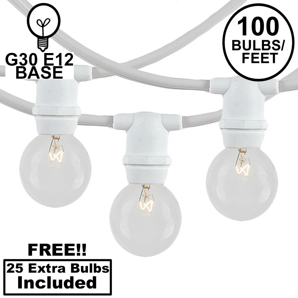 Picture of 100 Clear G30 Commercial Grade Candelabra Base Light Set - White Wire