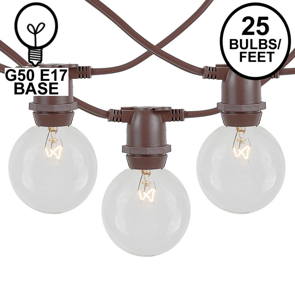 Picture of 25 Clear G50 Commercial Grade Intermediate Base Light Set - Brown Wire
