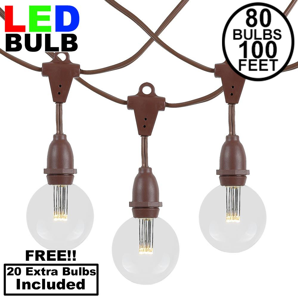 Picture of 80 Warm White G50 LED Suspended Commercial Grade Intermediate Base Light Set - Brown Wire