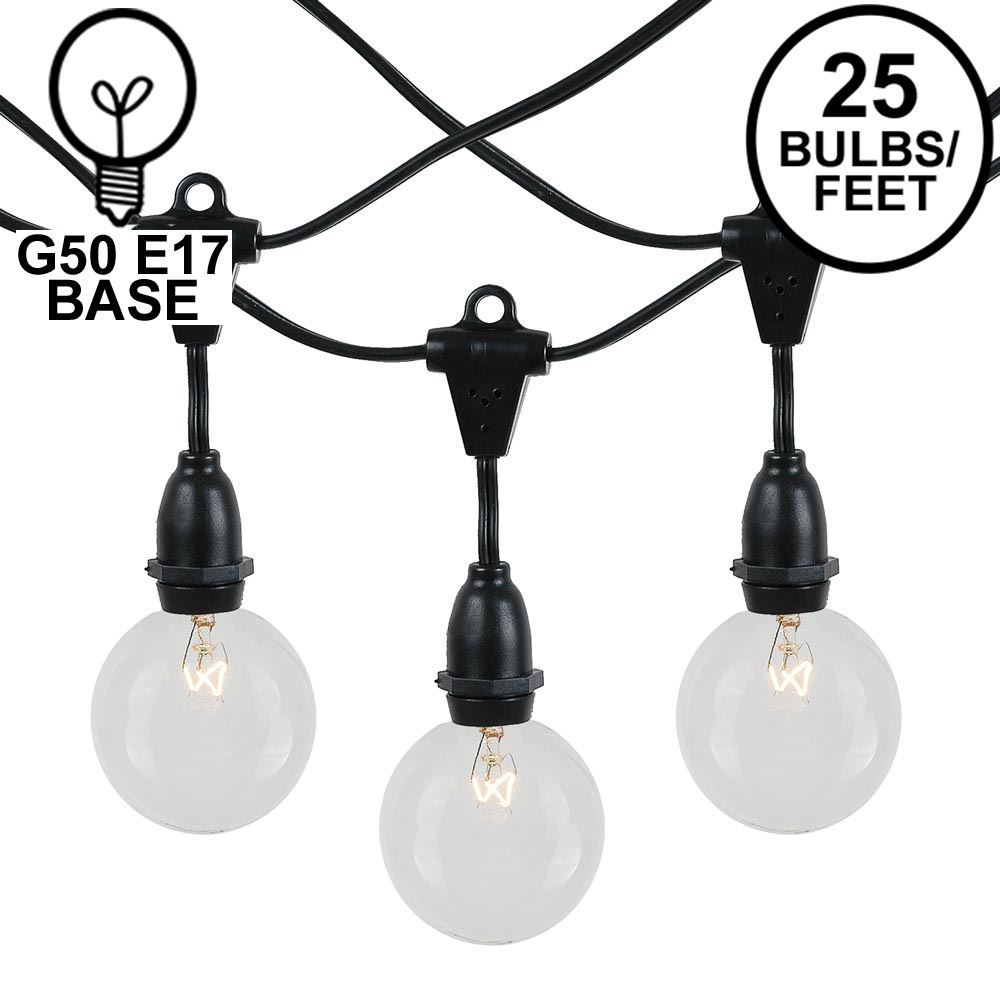 Picture of 25 Clear G50 Suspended Commercial Grade Intermediate Base Light Set