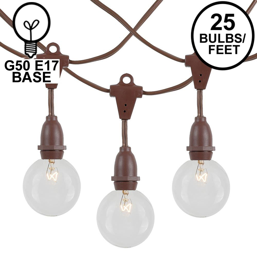 Picture of 25 Clear G50 Suspended Commercial Grade Intermediate Base Light Set - Brown Wire