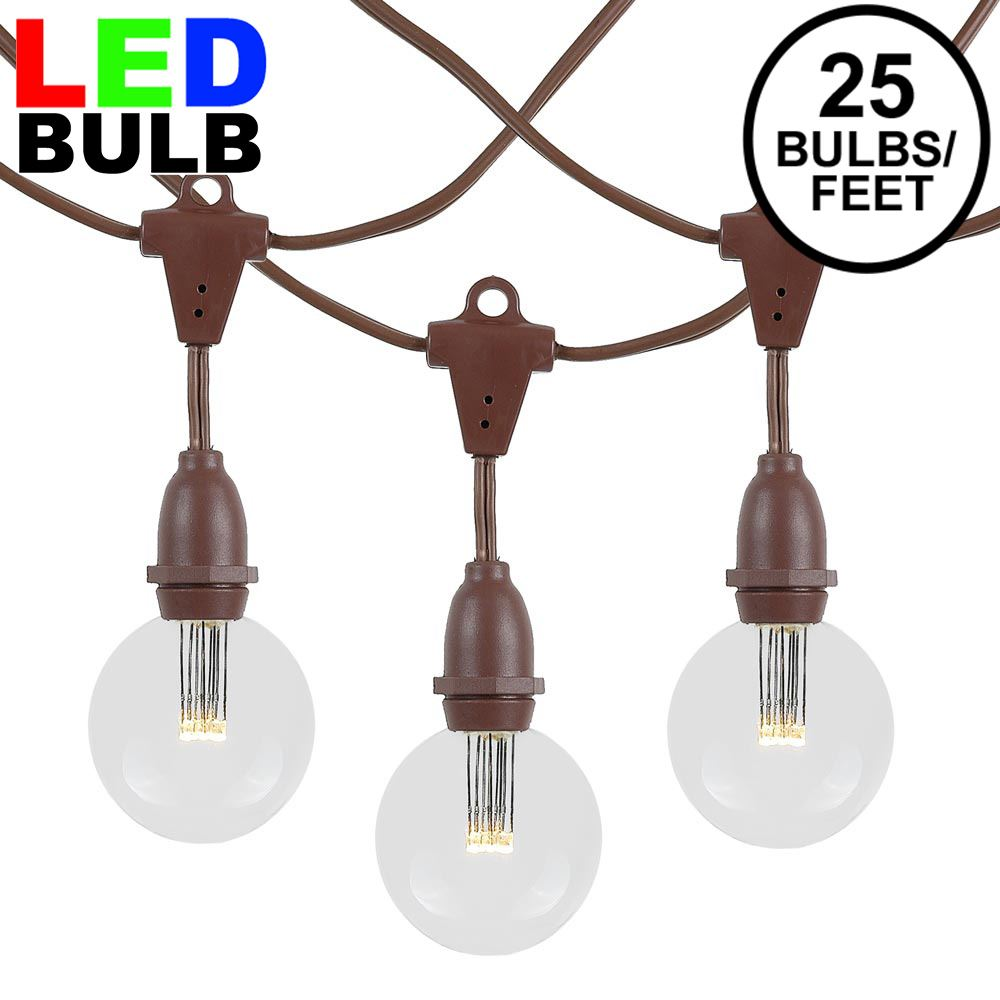 Picture of 25 Warm White G50 LED Suspended Commercial Grade Intermediate Base Light Set - Brown Wire