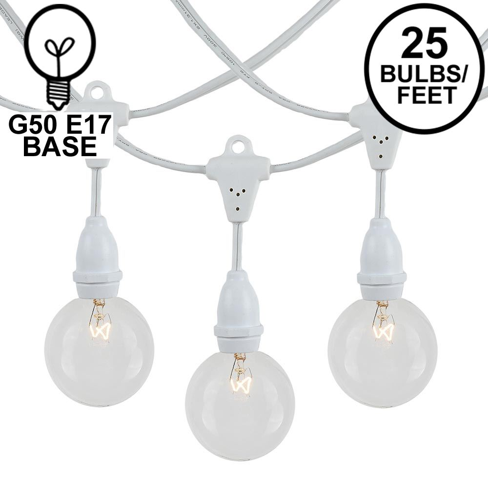 Picture of 25 Clear G50 Suspended Commercial Grade Intermediate Base Light Set - White Wire