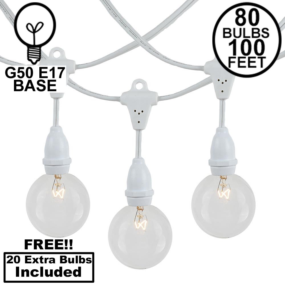 Picture of 80 Clear G50 Suspended Commercial Grade Intermediate Base Light Set - White Wire