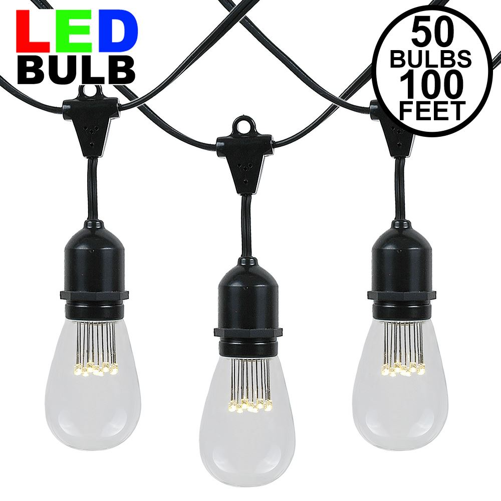 Picture of 50 LED S14 Warm White Commercial Grade Suspended Light String Set on 100' of Black Wire