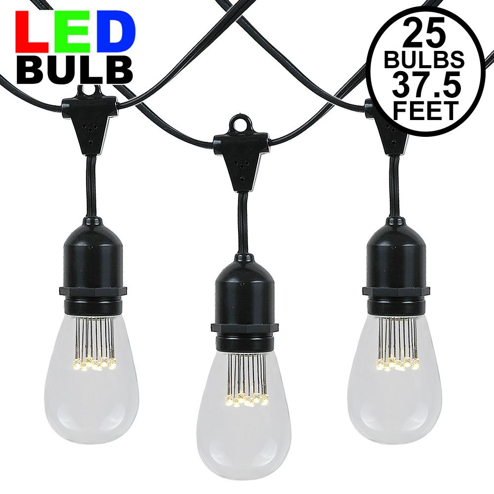 Picture of 25 LED S14 Warm White Commercial Grade Suspended Light String Set on 37.5' of Black Wire