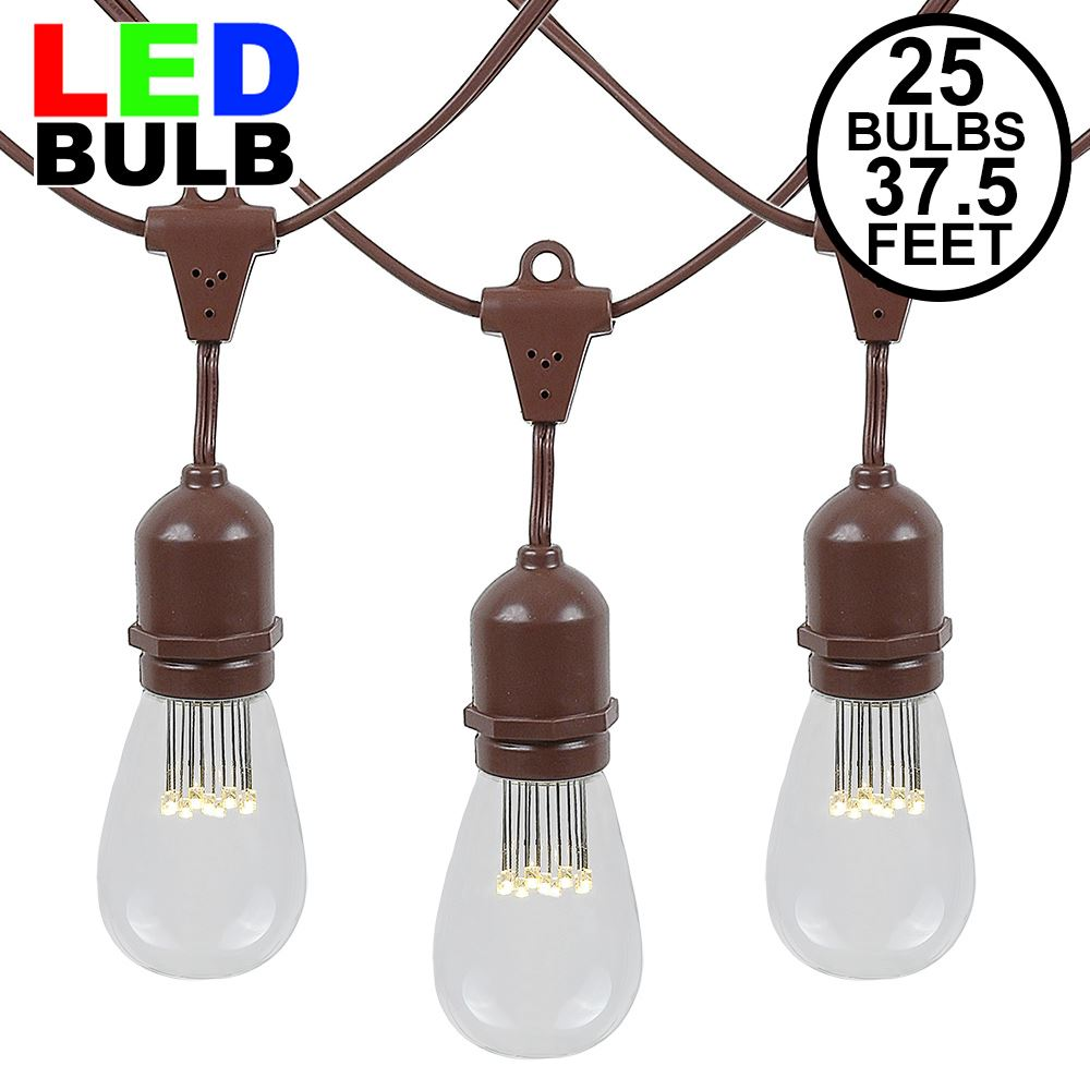Picture of 25 LED S14 Warm White Commercial Grade Suspended Light String Set on 37.5' of Brown Wire