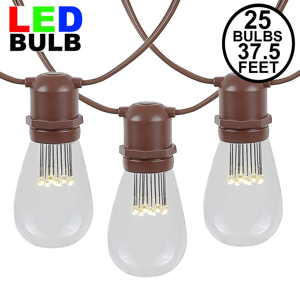 Picture of 25 LED S14 Warm White Commercial Grade Light String Set on 37.5' of Brown Wire