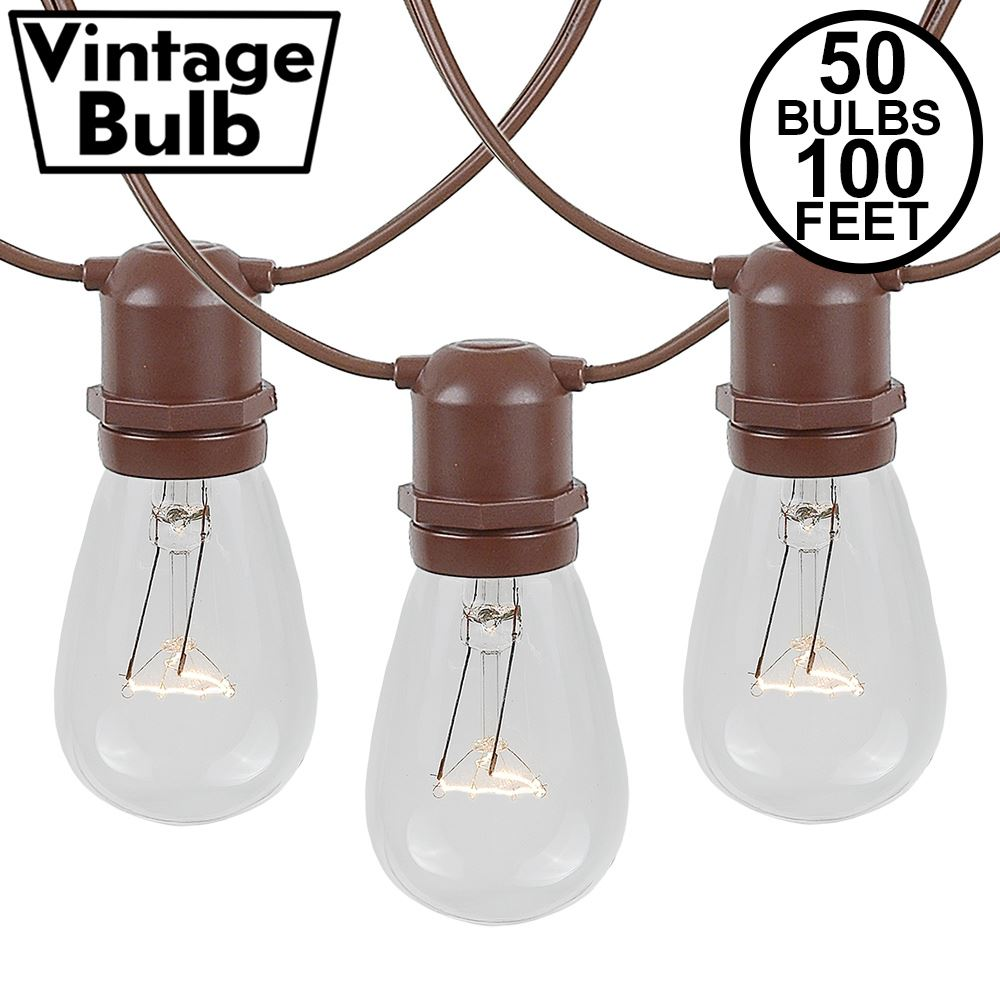 Picture of 50 Clear S14 Commercial Grade Light String Set on 100' of Brown Wire
