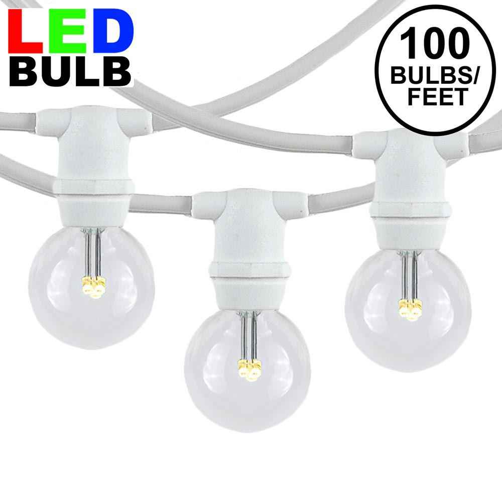 Picture of 100 Warm White LED G30 Commercial Grade Candelabra Base Light Set - White Wire