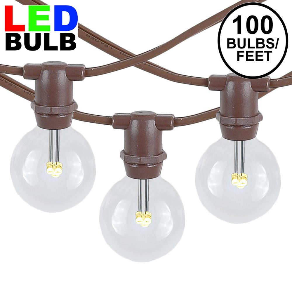 Picture of 100 Warm White LED G30 Commercial Grade Candelabra Base Light Set - Brown Wire
