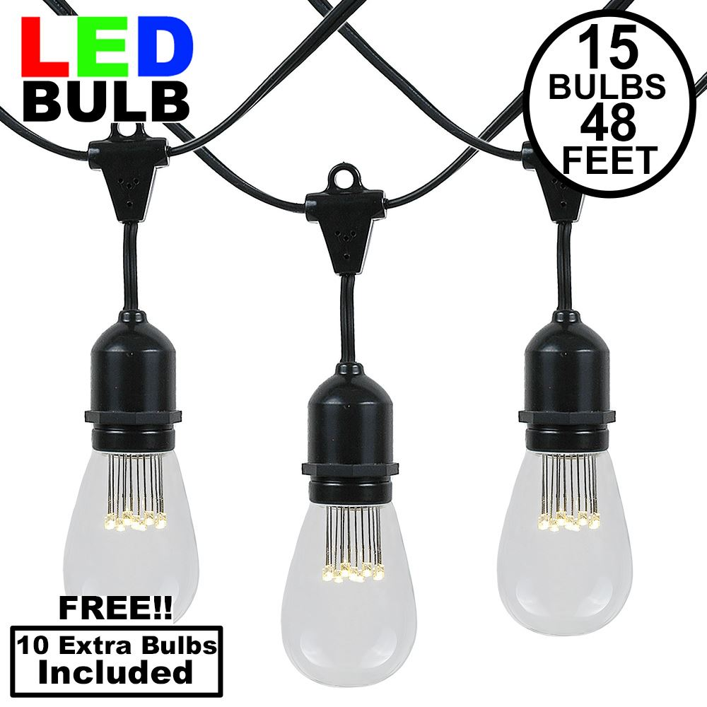 Picture of 15 LED S14 Warm White Commercial Grade Suspended Light String Set on 48' of Black Wire