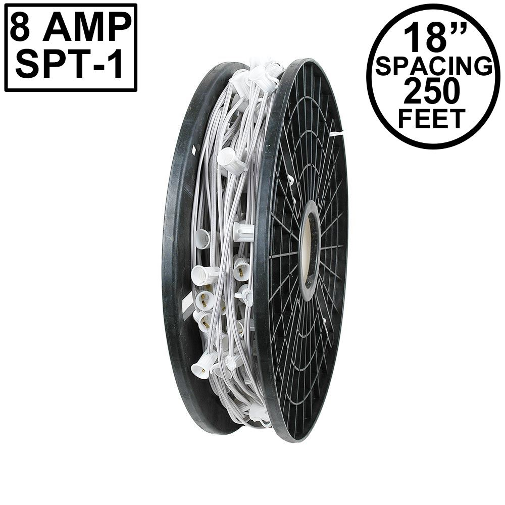 "Picture of C9 250' Spool 18"" Spacing 8 Amp White Wire"