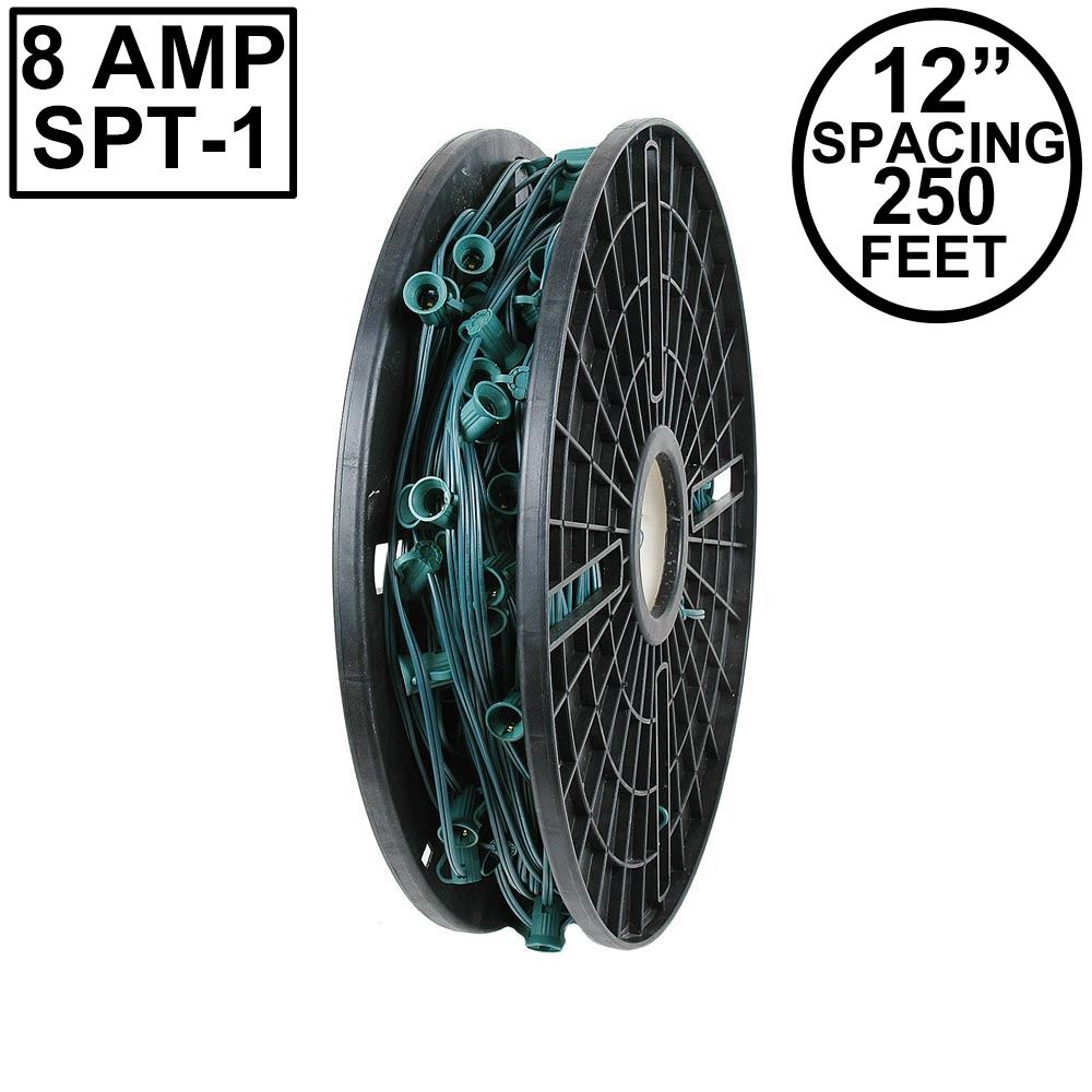 "Picture of C9 250' Spool 12"" Spacing 8 Amp Green Wire"
