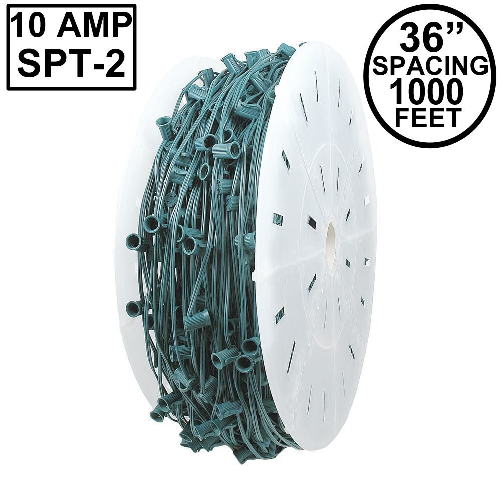 "Picture of 10 Amp C9 1000' Reel Green Wire 36"" Spacing"
