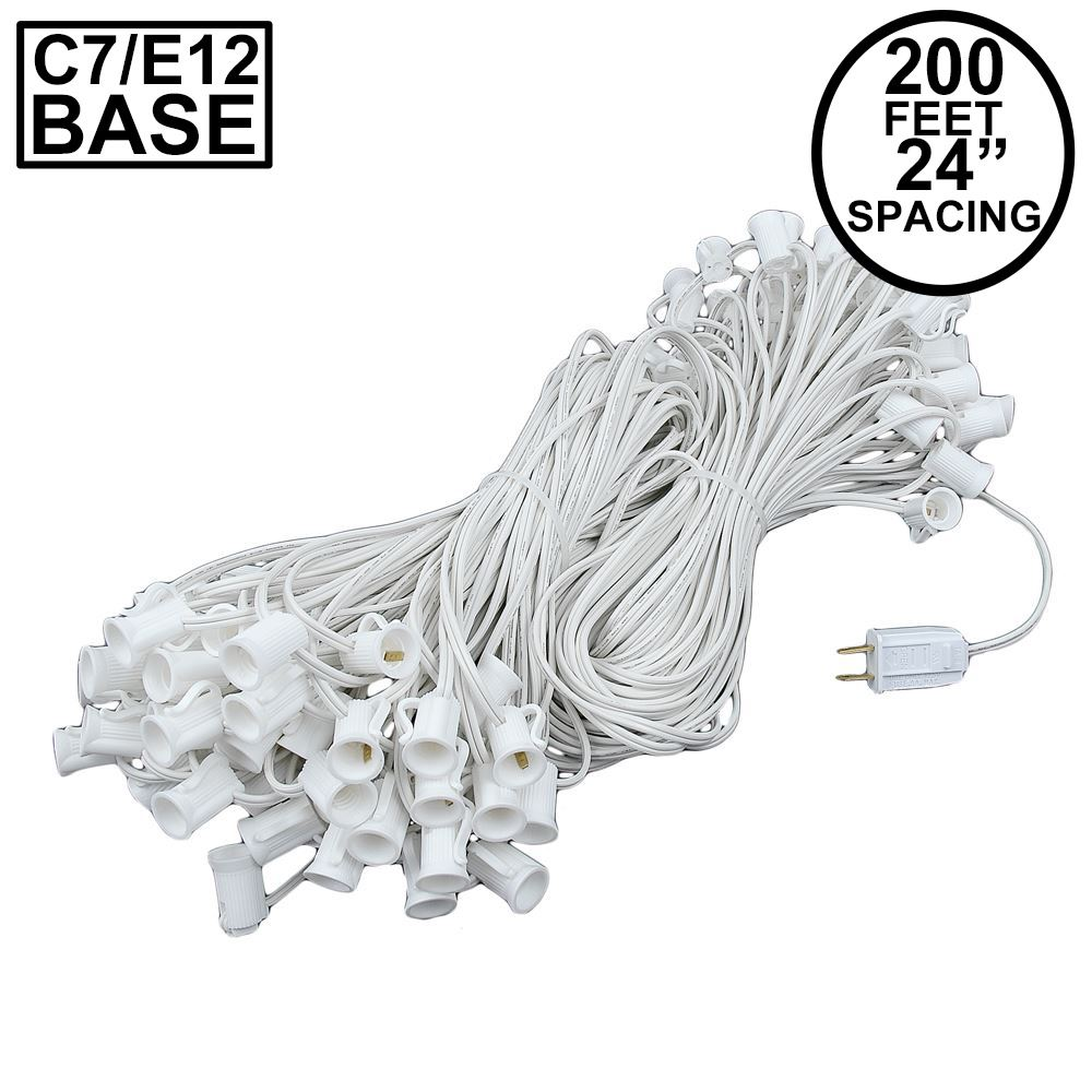 "Picture of C7 200' Stringer 24"" Spacing, 100 Sockets - White Wire"