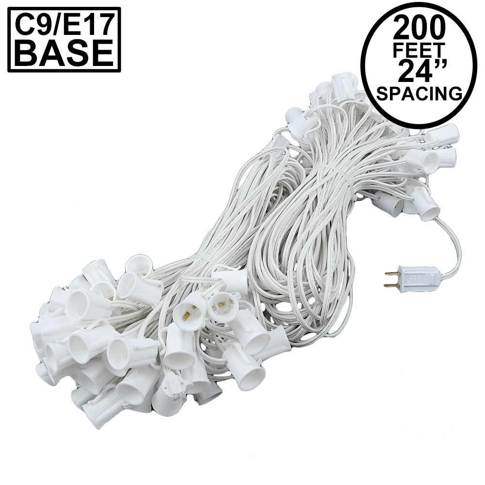 "Picture of C9 200' Stringer 24"" Spacing, 100 Sockets - White Wire"