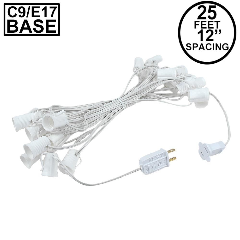 "Picture of C9 25' Stringers 12"" Spacing White Wire"