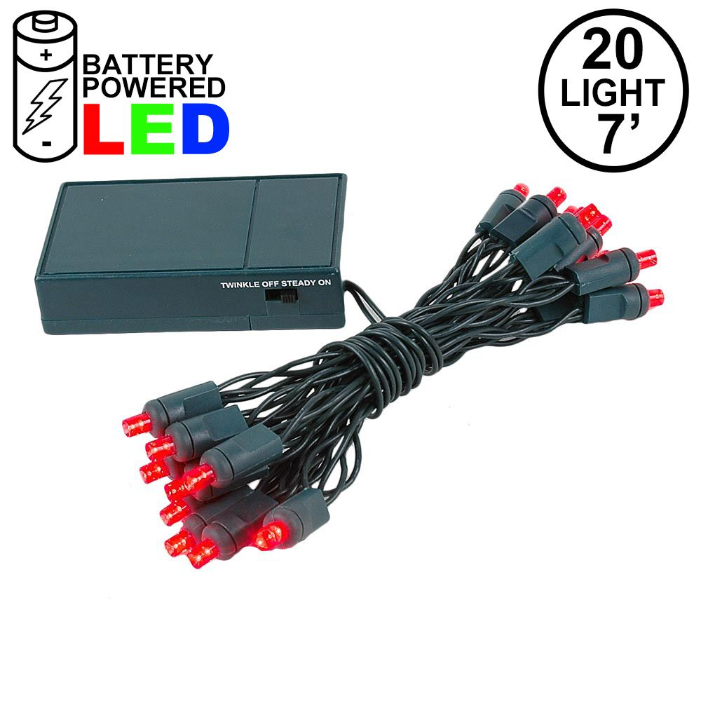 Picture of 20 LED Battery Operated Lights Red Green Wire