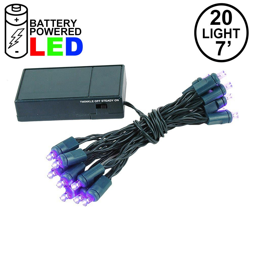 Picture of 20 LED Battery Operated Lights Purple Green Wire