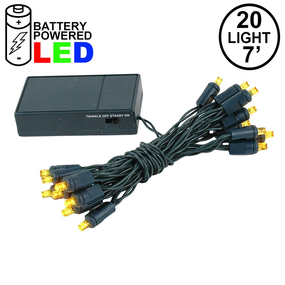 Picture of 20 LED Battery Operated Lights Yellow Green Wire