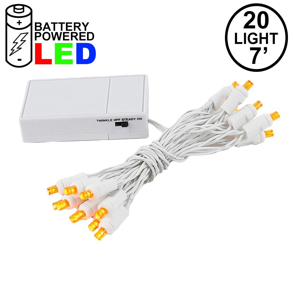 Picture of 20 LED Battery Operated Lights Amber Orange White Wire