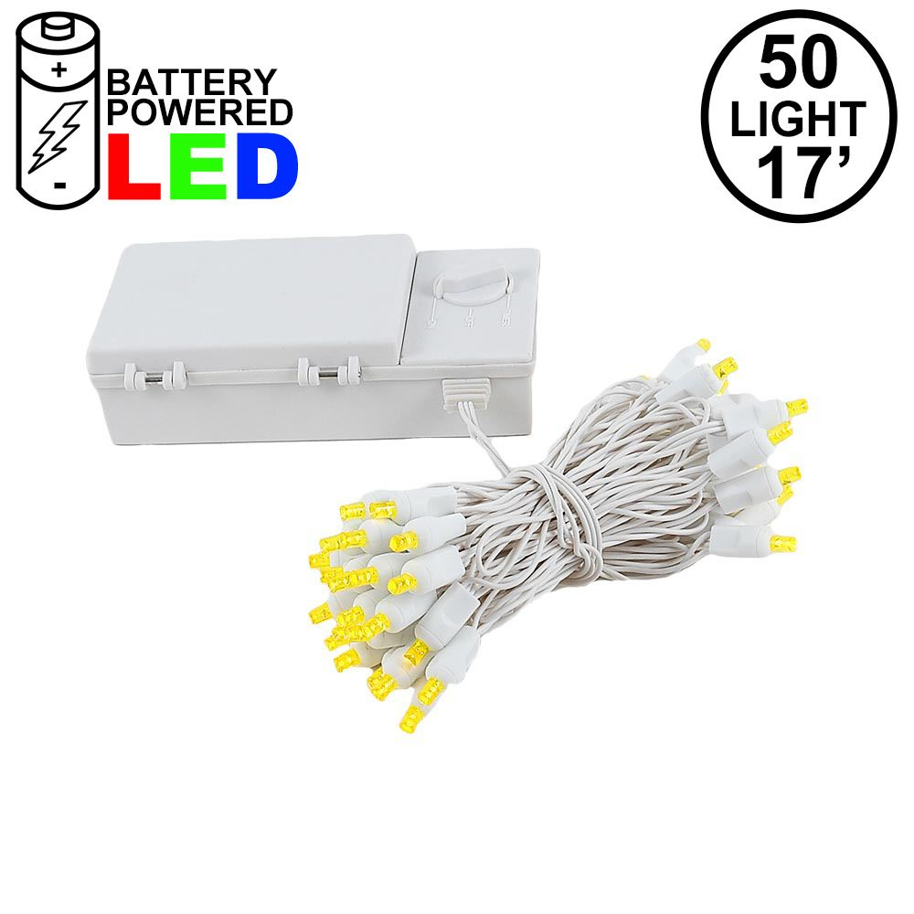 Picture of 50 LED Battery Operated Lights Yellow on White Wire