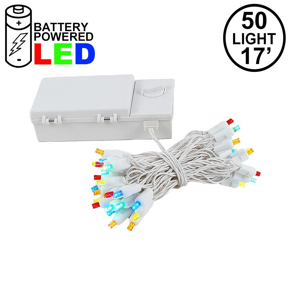 Picture of 50 LED Battery Operated Lights Multi on White Wire