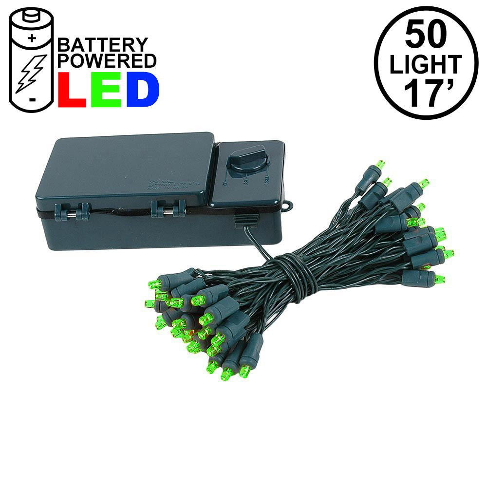 Picture of 50 LED Battery Operated Lights Green on Green Wire