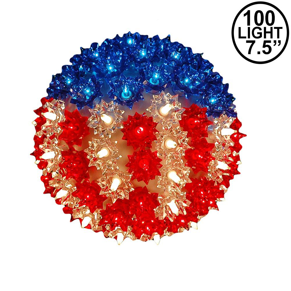 """Picture of Red White and Blue Patriotic 100 Light Starlight Sphere 7.5"""""""