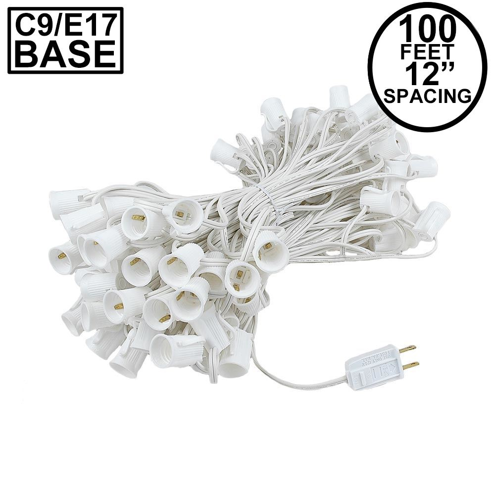 Picture of C9 100' String on White Wire, 100 Sockets